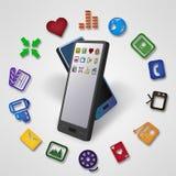 Trasferimento di dati e del soddisfare di Smartphones Immagine Stock