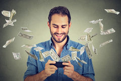Trasferimento di denaro di attività bancarie online di tecnologia, concetto di commercio elettronico Fotografie Stock Libere da Diritti