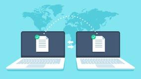 Trasferimento di file dei taccuini La trasmissione dei dati, ftp classifica la copia di backup del computer portatile e del ricev illustrazione vettoriale