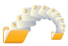 Trasferisca o trasferisca il simbolo dal sistema centrale verso i satelliti con i dispositivi di piegatura gialli VE Fotografia Stock Libera da Diritti