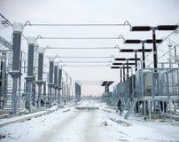 Trasformatore elettrico ad alta tensione in sottostazione Fotografie Stock Libere da Diritti