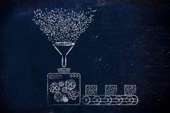 Trasformazione di dati, fabbrica che elabora codice binario Fotografia Stock