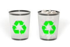 Trash. Empty and full trash isolated over a white background. This is a 3D rendered picture stock photos