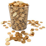 Trash. Bin with gold coins isolated on white background Royalty Free Stock Image