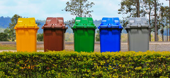 The trash. Colorful trush in the garden Royalty Free Stock Image