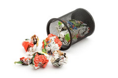 Trash. Bin full of paper trash studio isolated Royalty Free Stock Photo