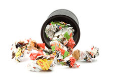 Trash. Bin full of paper trash studio isolated Royalty Free Stock Image