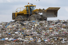 Trash. Overview of refuse collection with bulldozer Stock Photography