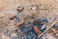 Trash and Ash from Camp Fire Stock Image