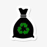 Trash bag icon sticker. On gray background Royalty Free Stock Photography