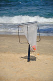 Trash bag. Israeli coast. Royalty Free Stock Images