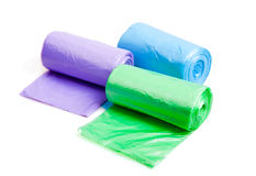 Trash bags. Rolls of trash bags on white background Royalty Free Stock Photos