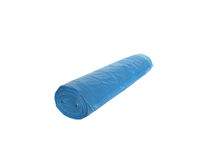 Trash bags. Blue plastic garbage bags, rolled up in a roll with a tilted angle. New, not used Stock Images