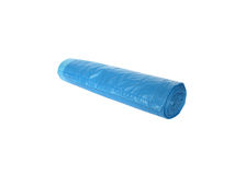 Trash bags. Packages for garbage collection, blue, rolled up in a long straight roll Stock Photography