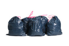 Trash bags. Pollution. Trash bags on a white background Stock Images