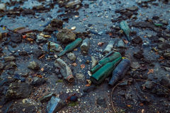 Trash on the beach at low tide Royalty Free Stock Photo