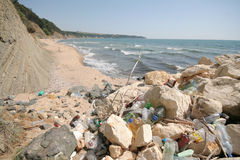 Trash on the beach. A beach near Obzor, Bulgaria filled with trash Royalty Free Stock Photos
