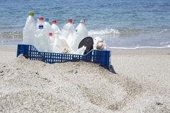 Trash in the beach,plastic Royalty Free Stock Photography