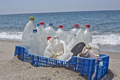 Trash in the beach,plastic Stock Photography