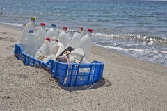 Trash in the beach,plastic Royalty Free Stock Image