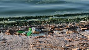 Trash on beach with surf of greenish polluted dirty water. With plastic bottles and other garbage lying around on shore stock footage