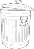 Trash bin. Outlined illustration of a trash bin Stock Photo