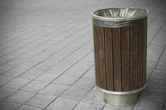 Trash Bin. Wooden trash bin in a park Royalty Free Stock Photos