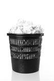 Trash bin. Recycle-bin with crumpled paper Stock Images