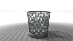 Trash bin animation with matte. stock video