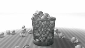 Trash bin animation with matte. stock video footage