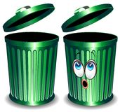 Trash Bin Cartoon. Two Green Trashes. Simple and Cartoon Version Royalty Free Stock Photography