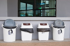 Trash bin corner. In the building Royalty Free Stock Photos