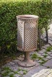 Trash bin. Decorative old iron trash bin in city.Prague Royalty Free Stock Images