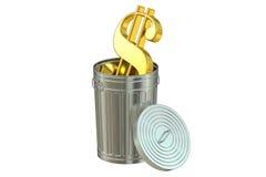 Trash bin with Dollar symbol, 3D rendering Stock Image