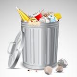 Trash Bin full of Garbage. Illustration of trash bin full of garbage on abstract background Stock Photos