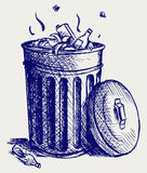 Trash bin full of garbage. Doodle style Royalty Free Stock Image