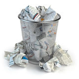 Trash bin full of waste paper. Wastepaper basket isolated on whi. Te background. 3d illustration Stock Photography