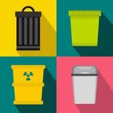 Trash bin garbage banners set, flat style Stock Image