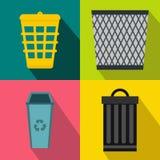 Trash bin garbage banners set, flat style Royalty Free Stock Photos