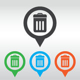 Trash bin icon . eps 10, icon map pin Stock Images