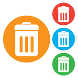 Trash bin icon . Round colourful buttons Stock Photos
