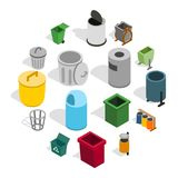 Trash bin icons set, isometric 3d style. Trash bin icons set in isometric 3d style isolated on white background. Vector illustration Royalty Free Stock Photo