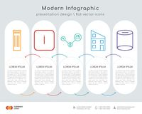Trash bin infographics design. Infographics design  and trash bin, info, connected job, home, cylinder icons can be used for workflow layout, diagram, annual Royalty Free Stock Image