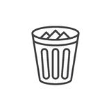 Trash bin line icon, outline vector sign, linear style pictogram isolated on white. Stock Photography