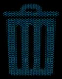 Trash Bin Mosaic Icon of Halftone Spheres. Halftone Trash bin mosaic icon of spheric bubbles in blue color hues on a black background. Vector circle items are Stock Photos