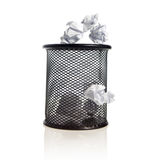 Trash bin with paper balls Royalty Free Stock Photos