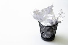 Trash bin with papers garbage Stock Image