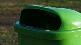 Trash bin in the park stock photos