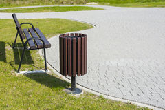Trash bin in the park. Royalty Free Stock Images