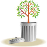 Trash bin with plants Stock Images